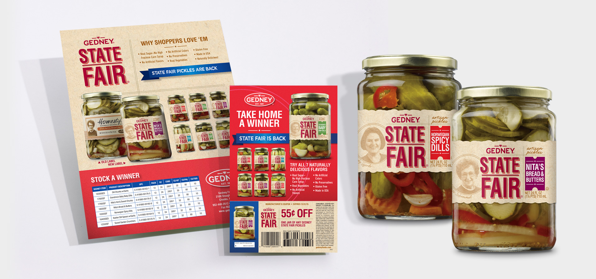 gedney state fair pickles materials and jars